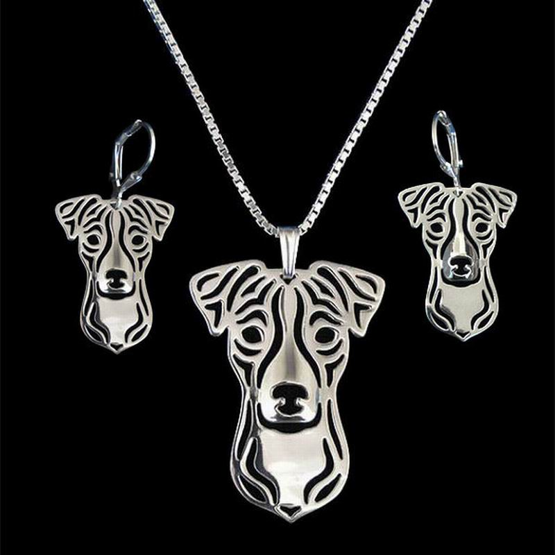 2018 New Arrival Womens Metal Dog Shaped Jewelry Set Lovers Jack Russell Terrier Jewelry Set Drop Shipping
