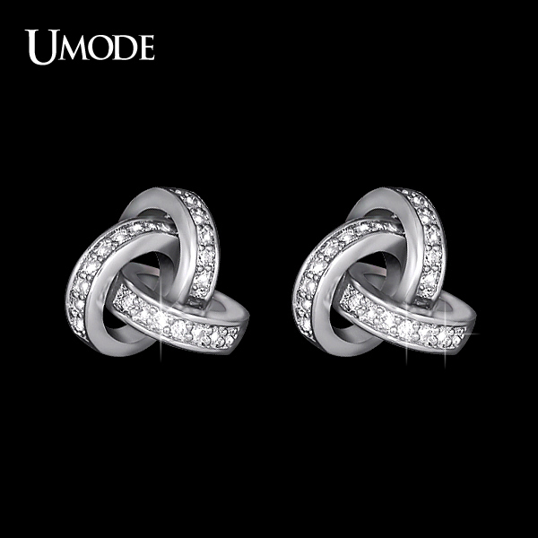 Umode Love Knot Stud Earrings White Gold Color Cubic Zirconia Cz Accent Inspired Twist Gift For