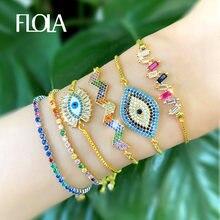 FLOLA-pulsera de ojo de arco iris para mujer y niña, Pulseras de tenis de cristal CZ dorado, joyería de arcoíris, ojo turco brtb53