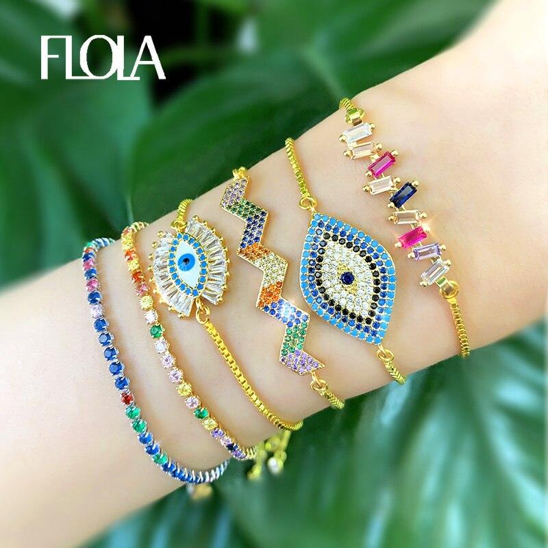 Pulsera de ojo de arcoíris de moda, pulseras de tenis de oro de cristal CZ para mujeres y niñas, joyería de arcoíris, pulsera ojo turco brtb53