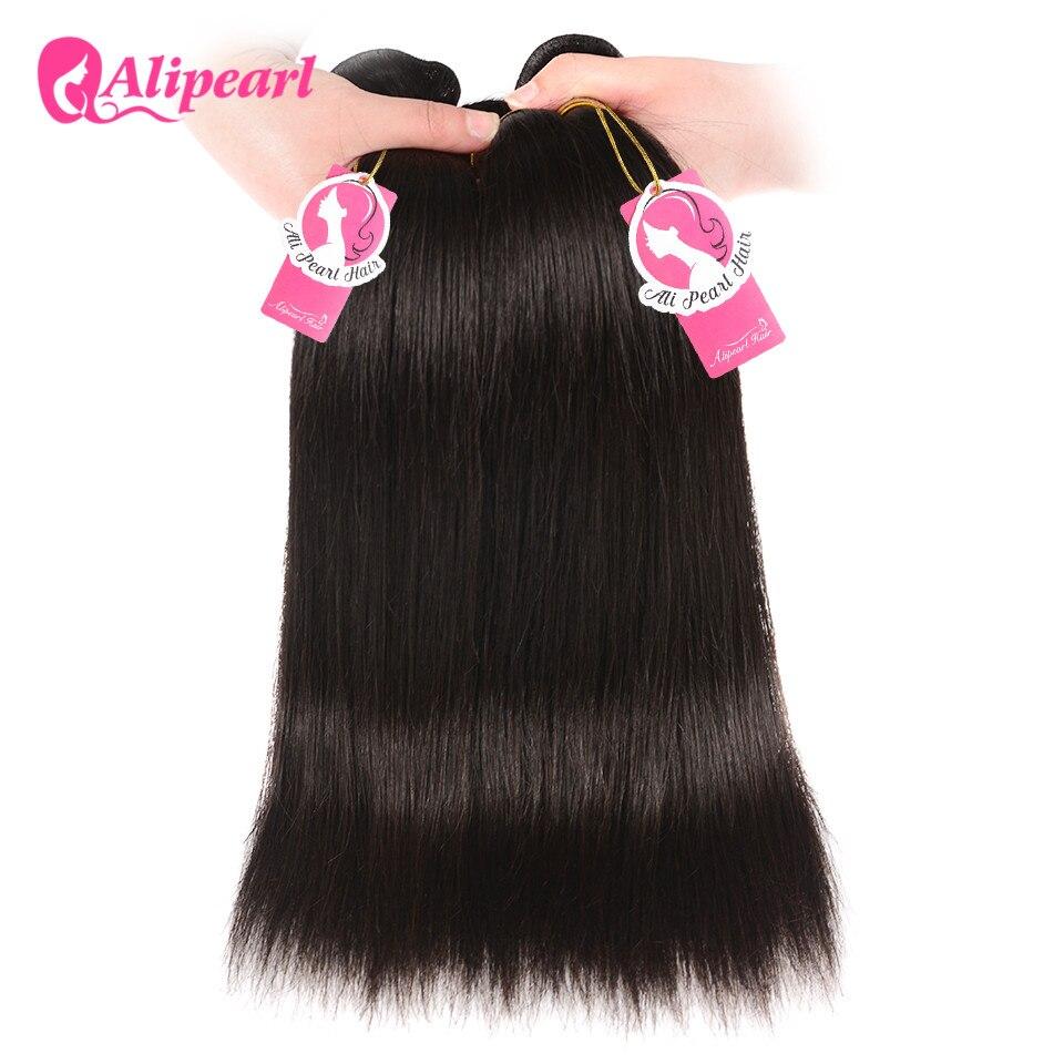 AliPearl Hair 100% Human Hair Bundles With Closure Brazilian Straight Hair Weave 3 Bundles Natural Black Remy Hair Extensions