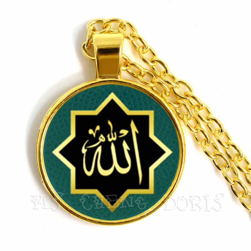 Złoty kolor 25mm szkło muzułmanin islamski Allah arabski muzułmanin naszyjnik dla Muhammad religijnych środku biżuteria Ramadan prezent dla przyjaciół