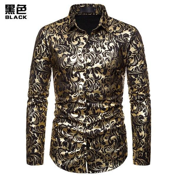 Mens Black Shirt Designer Gold Floral Paisley Italian Fashion Slim Fit Button Up