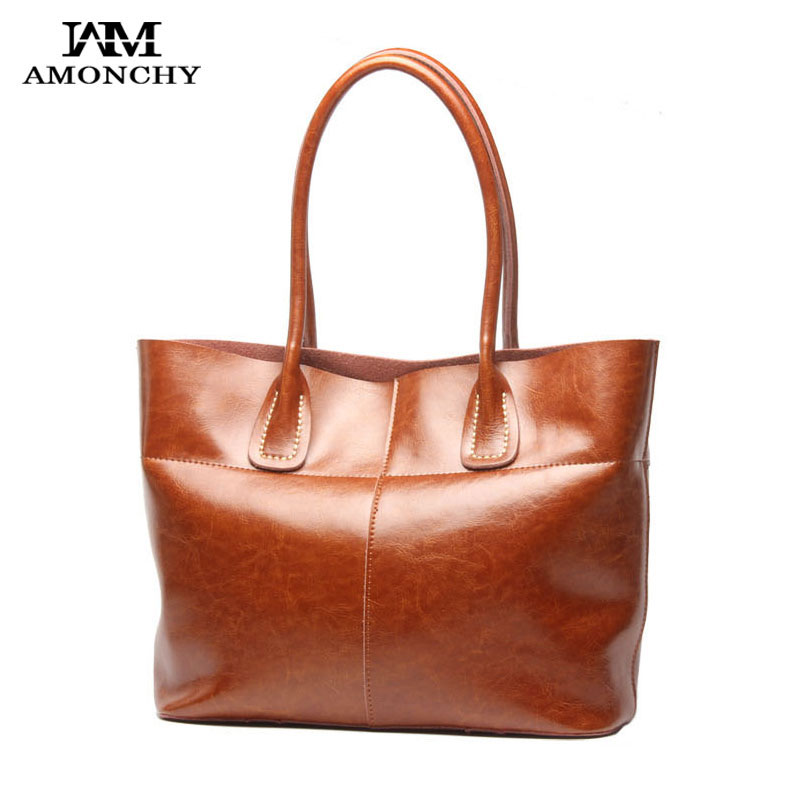 AMONCHY Hot Sale Ladies Genuine Leather Handbags Luxury Natural Skin Women  Shoulder Bags Imported Cowhide Tote Bag Bolsas Mujer-in Shoulder Bags from  ... c9ab5602e3