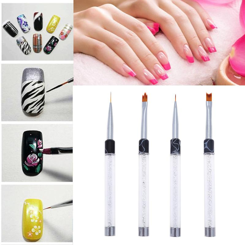 1pcs Smile Moon Shaped Acrylic French Nail Art Brush Set UV Gel Polish Gradient Color Tips 3D DIY Painting Drawing Liner Pen