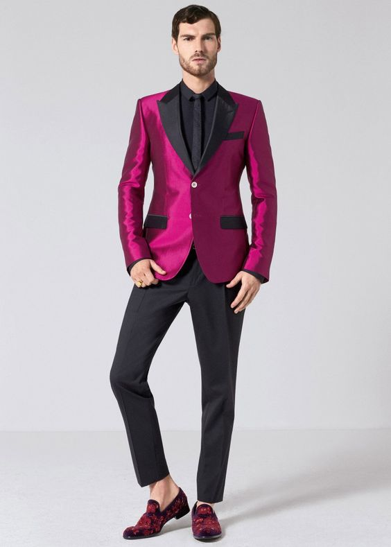 Latest Coat Pant Designs Hot Pink Satin Men Suit Slim Fit 2 Piece Tuxedo Prom Blazer Custom Groom Party Suits Terno Masculino G7