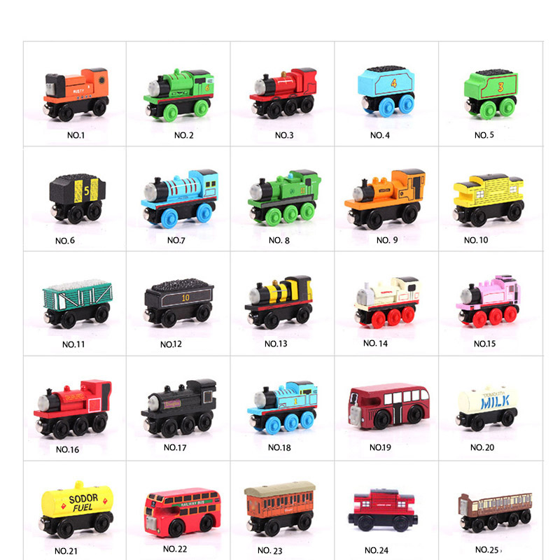 Kid Wooden Magnetic Train Toys For Children Thomas And Friends Train Cartoon Vehicles Railway Car Accessories Classic Wood Toy