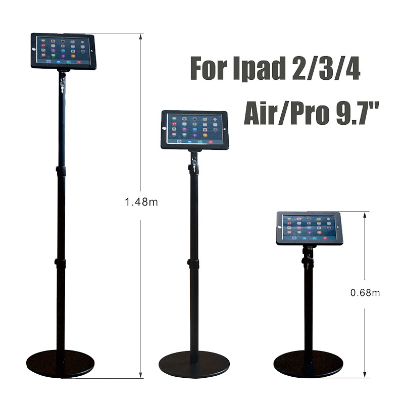 Ipad security stand tablet display lock ipad floor holder adjustable display case bracket anti theft for Ipad 2 3 4 Air pro 9.7 aluminum tablet pc stand holder for ipad pro ipad new 2018 air 2 mini 4 surface pro 4 3 docking station cradle anti skid silver