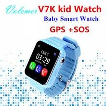 Nueva v7k gps bebé smart watch niños impermeable reloj con cámara de llamada sos ubicación devicertracker anti-perdida monitor pk q90/q80/q50