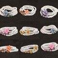 Tridacna blanco Natural 6mm 108 perlas de Múltiples Capas de la pulsera con flores de colores colgante de diy pulsera mujeres B789