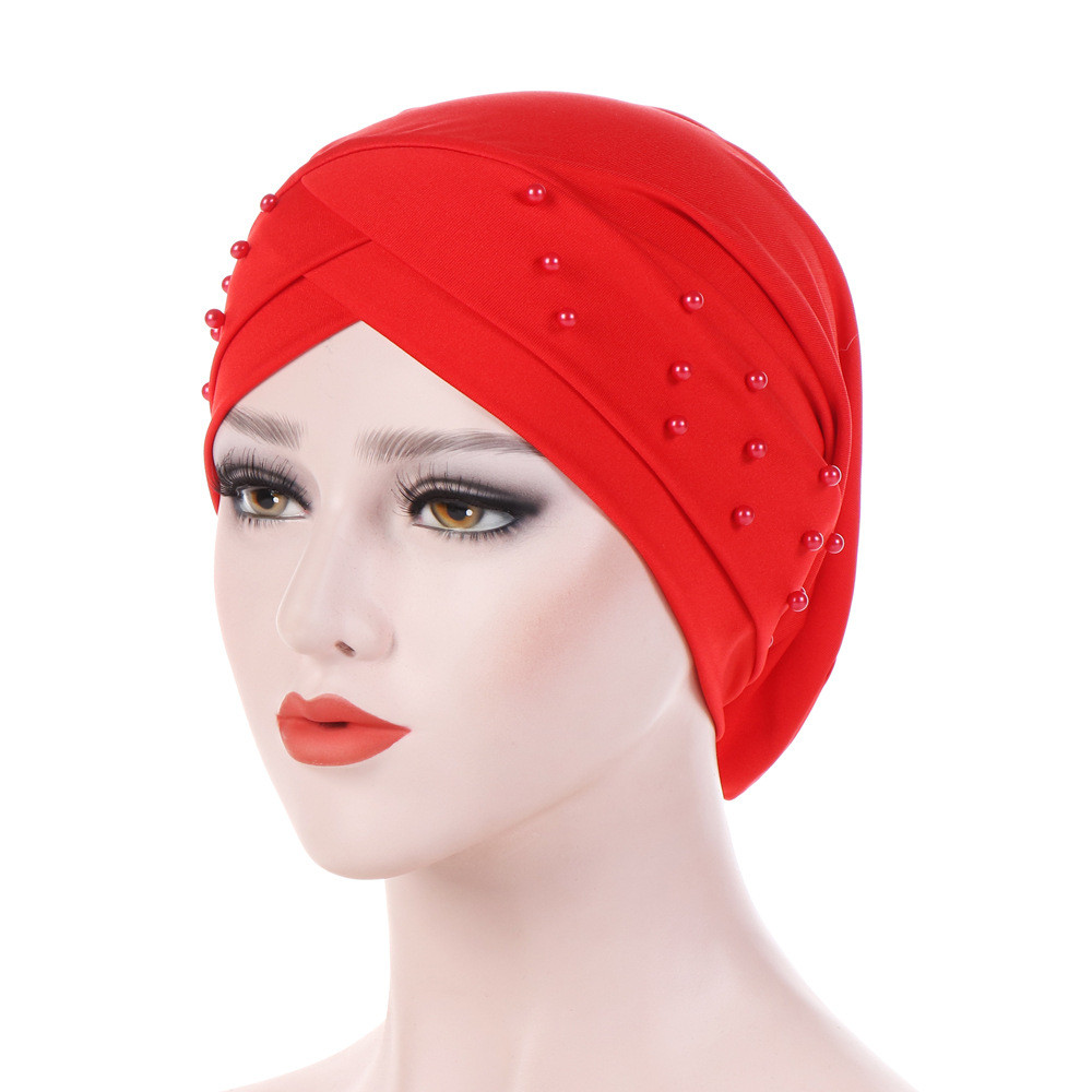 hair accessoriesbands for girls Turban Women Muslim Ruffle Headband  Beading Hats Beanie Bandanas Head Wrap Headwear PAUGT4 Тюрбан