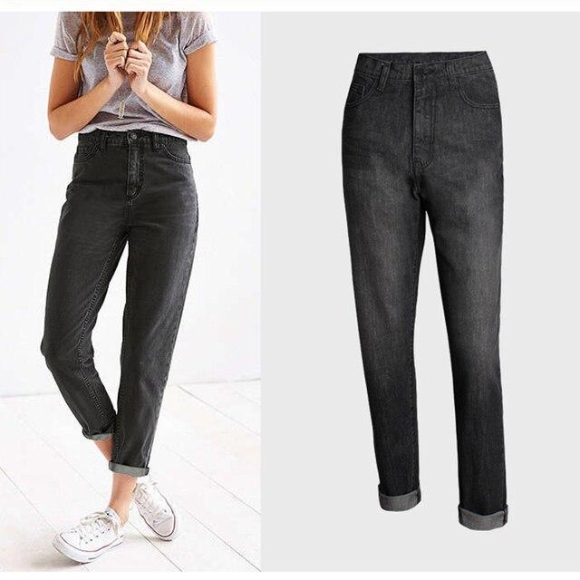 6e4dd15473 Jeans de moda de mujer negro Denim Pantalones de cintura alta