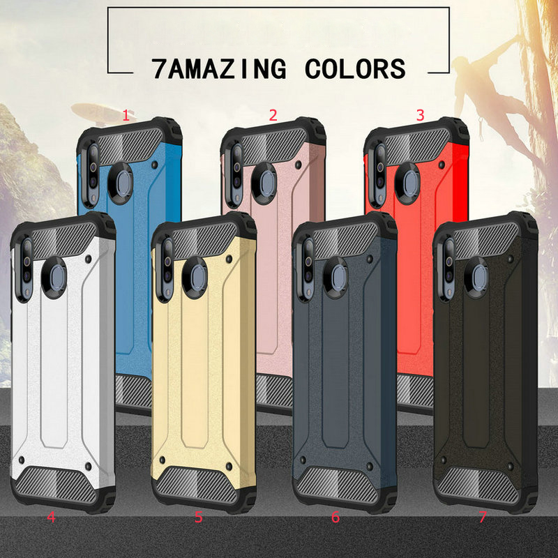 100pcs lot Case For Samsung Galaxy M30 Impact Resistant Shockproof 2 in 1 Removable Hard Cover