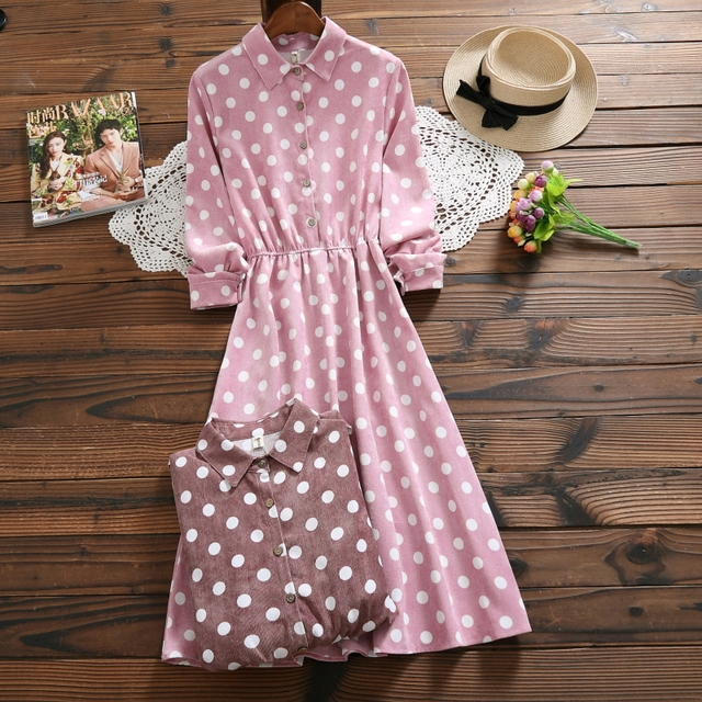Japanese Harajuku Autumn Winter Women Long Dress Mori Girl Polka Dot Midi Vestidos Mujer Kawaii Elegant Vintage Corduroy Dresses
