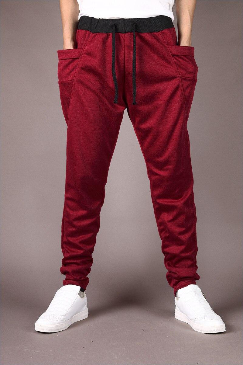 Штаны-шаровары Новые стильные модные повседневные обтягивающие спортивные штаны брюки с заниженным шаговым швом Мужские штаны для бега Sarouel - Цвет: wind red