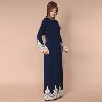 Cardigan Lungo In Chiffon | Buytiz EMIRATI ARABI UNITI Musulmano Abaya Blu Scuro Abbigliamento Islamico Floreale Vestito Della Maglia Di Pizzo Cardigan Dubai Medio Oriente Kaftan Lunga Veste Abiti