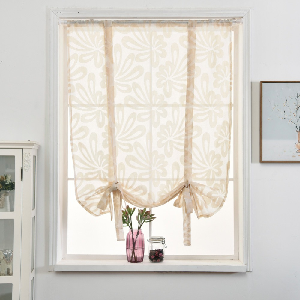 Semi Sheer Curtains For Kitchen Curtain Linen Textured: Home Kitchen Short Curtain Linen Tie Semi Sheer Blinds