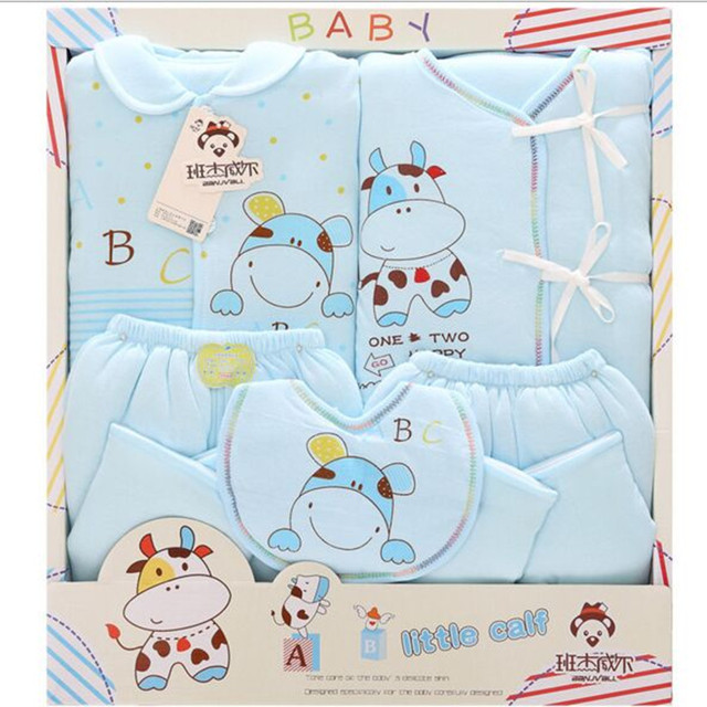 2016 Newborn Gift Sets Autumn And Winter Cotton Thick Warm  Baby Girl Clothes / Baby Boy Sets 5 piece