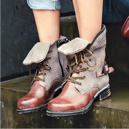 Vintage Genuine Leather Women Short Boots Fashion Lace Up Flats Shoes Woman Winter Big Size Chelsea Booties England Ankle Boots england new style genuine leather women short boots metal buckles flats dress shoes woman gladiator brand warm fur rain booties