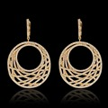 NEWSKY Luxury Hoop Earrings High Quality Gold Plated Round Pendant Hoop Earrings For Women Gift Fashion Jewelry
