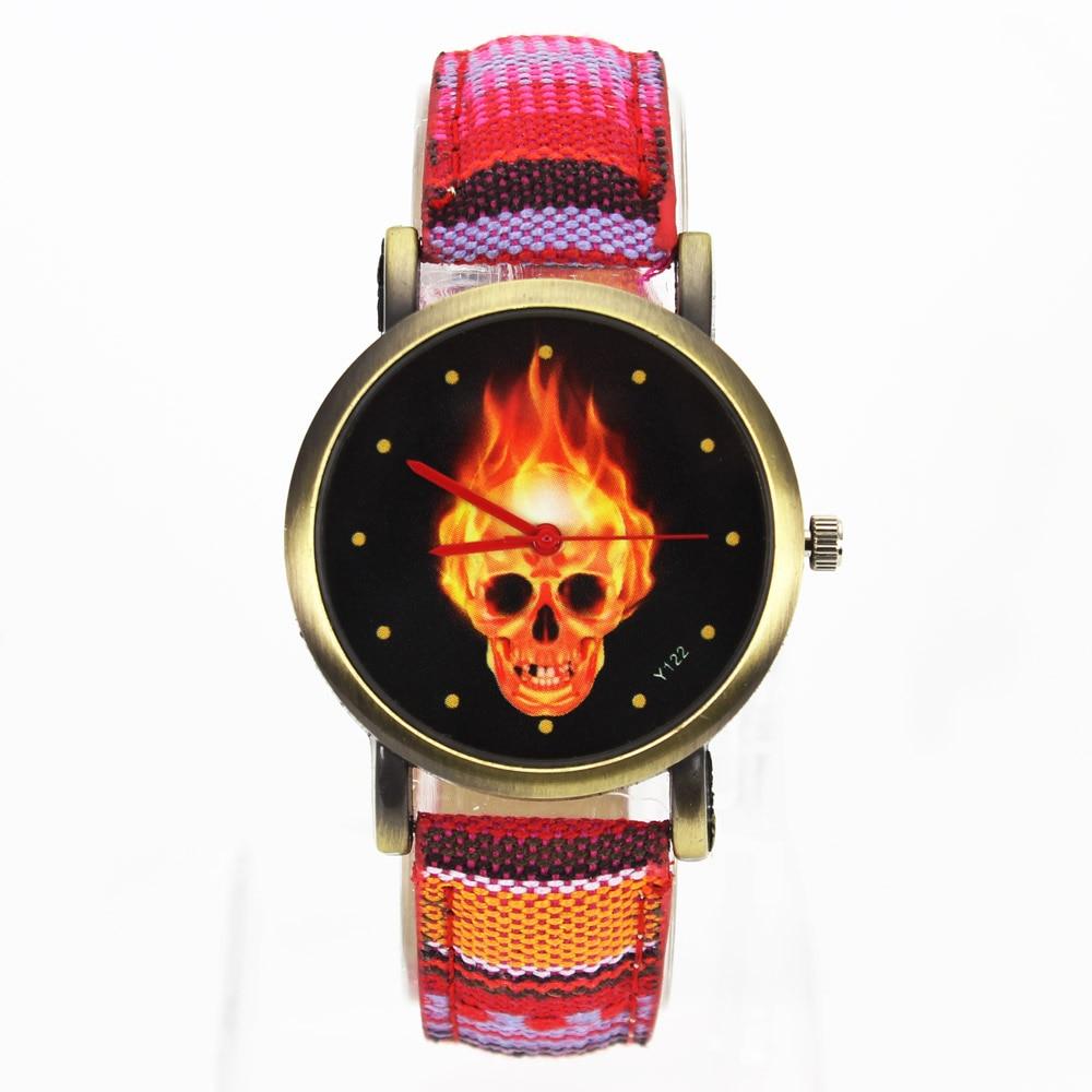 Tűz forró sötét égő koponya csontváz dial órák nők férfiak - Férfi órák - Fénykép 3