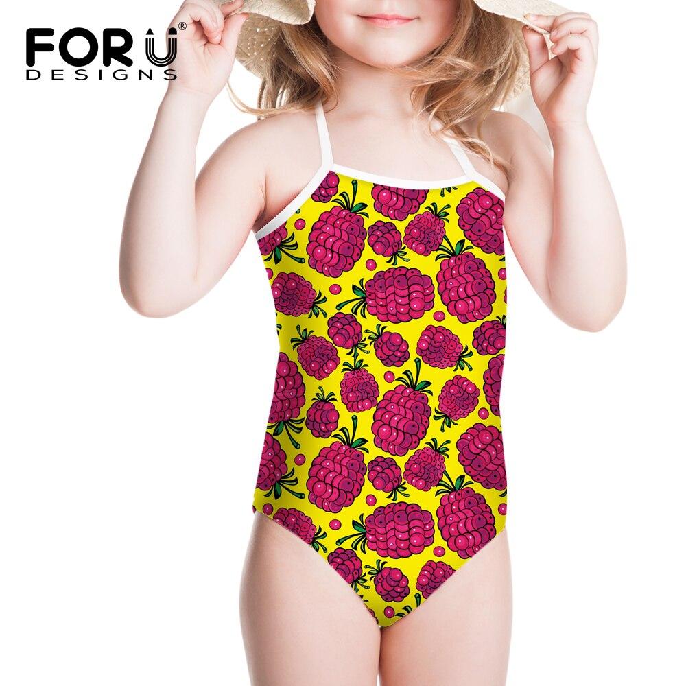 FORUDESIGNS Summer Chidren Pineapple Printing Swimwear Swim Suit Bathing Beach Colorful Girls Cute Summer Beach Paly Clothing