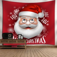 Red Santa Claus Christmas Theme Tapestry Wall Hanging Wall Art Yoga Mat Blanket Picnic Cloth Wall Fabric for Bedroom Dorm