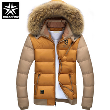 Pelzkragen Männer Winter Parkas Halten Warme Jacke Patchwork Design große Größe M-4XL Top Qualität Mode-stil Mann Slim Fit mantel