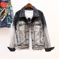 Women Vintage Coats Autumn And Winter Women Denim Jacket black dradient color outerwear Lady's jacket coat YQ128