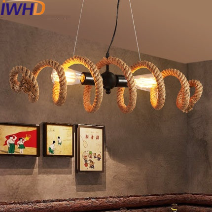 IWHD Hemp Rope Vintage Pendant Light Fixture 2 Heads Loft Industrial Retro Pendant Lamp American Style Iron Suspension Luminaire