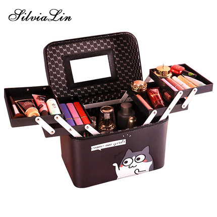 все цены на Large Capacity Professional Makeup Organizer Fashion Toiletry Cosmetic Bag Multilayer Storage Box Portable Cute Cat Suitcase