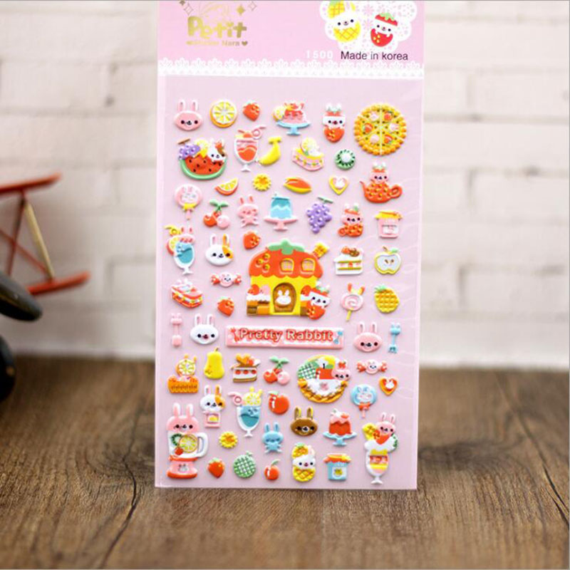 3pcs Child Student Gift Stationery Sticker Cute Kawaii Rabbit Three-dimensional Sponge Sticker Phone Decoration Sticker