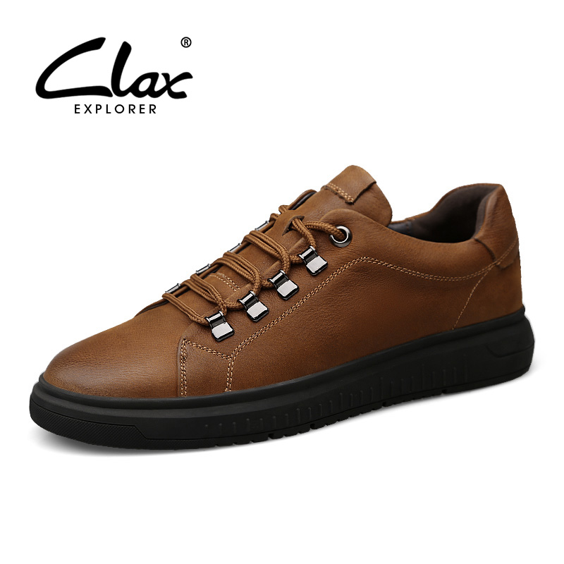 CLAX Men Casual Leather Shoes Spring Autumn Fashion Male Genuine Leather Leisure Shoe British Walking Footwear Large Size serene handmade winter warm socks boots fashion british style leather retro tooling ankle men shoes size38 44 snow male footwear