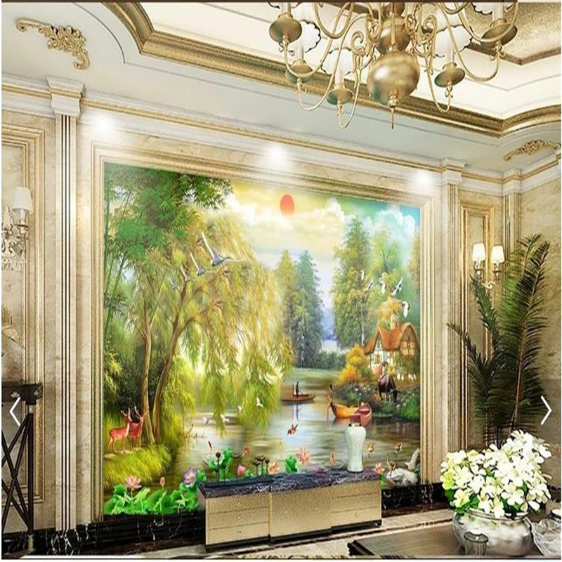 Wallpapers Painting Supplies & Wall Treatments Custom Rural Nature Landscape Large Mural Wallpaper For Living Room Sofa Bedroom Modern Wall Papers Home Decor Wall Paper 3d
