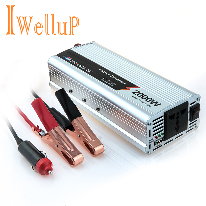 2020 Iwellup 800W <font><b>Auto</b></font> Inverter 12v <font><b>220v</b></font> 50Hz <font><b>Auto</b></font> Inverter Aluminium Alloy Power Konverter Inverter Peak power 2000W image