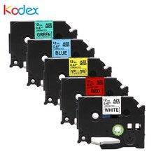 ФОТО kodex 5  pk combo set 12mm 100% compatiblefor brother p-touch label tape tze 231 431 tze-531 tz 631 tze-731 maker printer ribbon