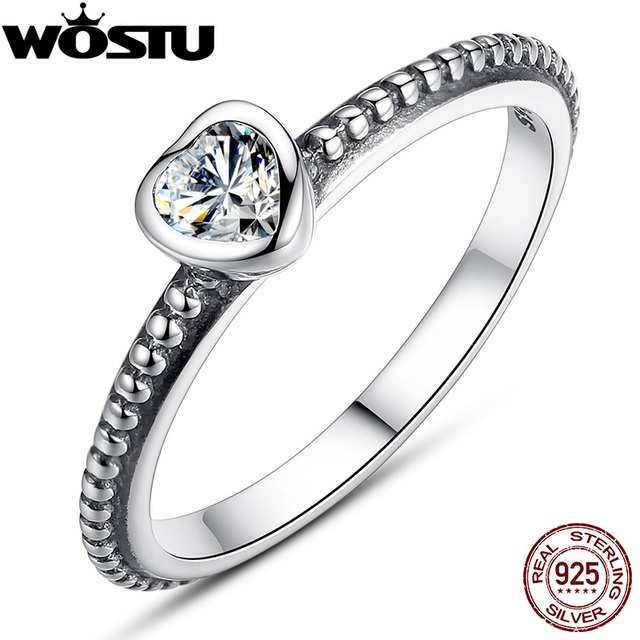 Hot Sale Authentic 100% 925 Sterling Silver Anniversary Wedding Heart CZ Rings F