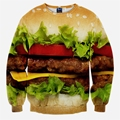 2016 New Novel Food Hamburger Vegetables Printed Sweatshirts Hip Pop Streetwear Hoodies O-Neck Pullover