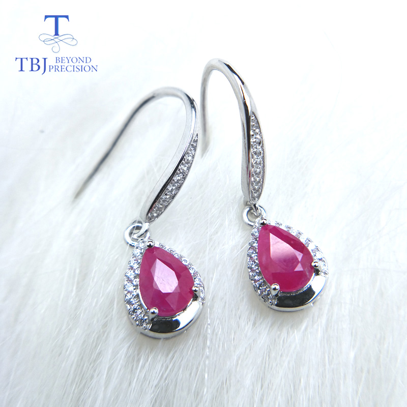 TBJ, Simple small hook earring with natural ruby in 925 sterling silver precious gemstone earring for women lady mom best giftTBJ, Simple small hook earring with natural ruby in 925 sterling silver precious gemstone earring for women lady mom best gift