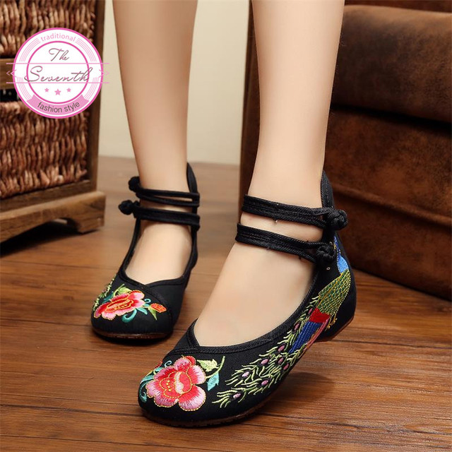 66f81161bc3 Peacock Women Embroidery Shoes Chinese Style Flats with Mary Janes Casual  Shoes Red+Black Soft Sole Old Peking Cloth Shoes Woman