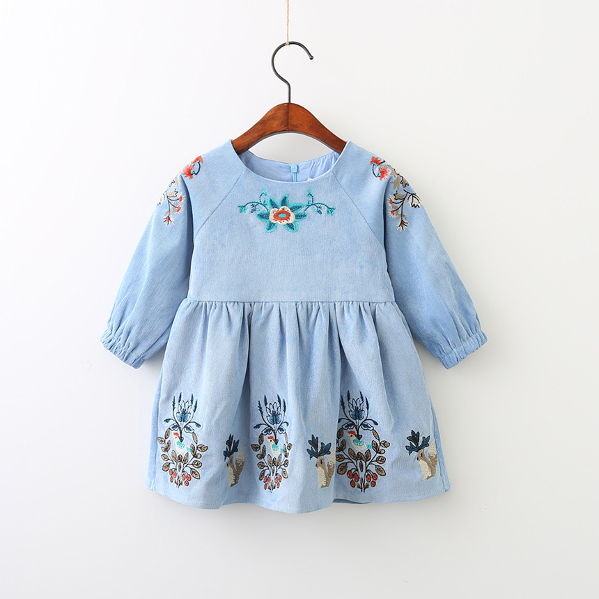Kidsalon Kids Dresses for Girls Clothes 2017 Brand Autumn Animal Flower Embroidered Baby Girls Dress Long Sleeve Princess Dress girls dresses long sleeve 2017 spring brand kids dress for girls clothes baby infant animal flower princess costumes children
