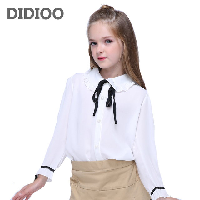 41db4c73 Girls Chiffon Blouses for Kids White Shirts Baby Solid Tops Teenage Girl  Long Sleeve Blouse School Uniform Shirts 10 12 14 Years