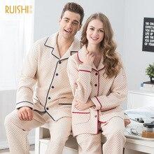 J Q Home Suit New Couple Cotton Pajamas Men And Women s Lapel Cardigan Long sleeved