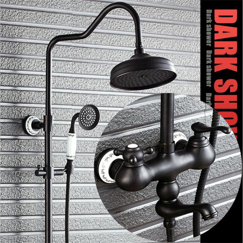 Bathroom European shower manufacturers black bronze shower set full ...