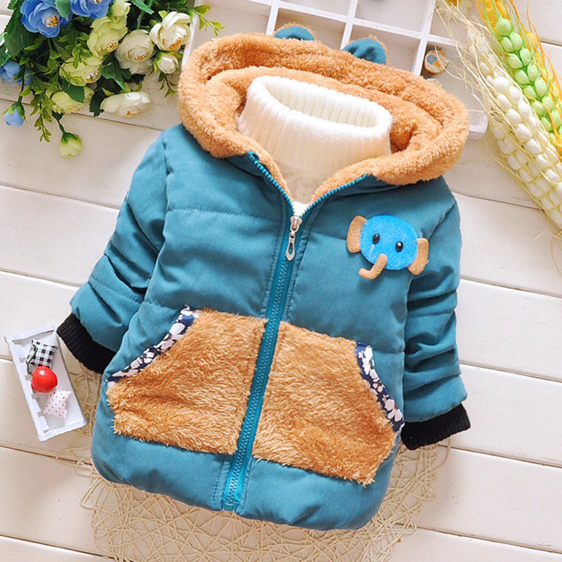 Детская одежда верхняя одежда для детей мальчиков на осень-зиму Куртки хлопковый костюм с принтом слоненка из мультфильма с капюшоном верх...