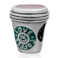 Fit For Pandora Bracelet Love Coffee Cup Beads Original 925 Sterling Silver Charms DIY Jewelry