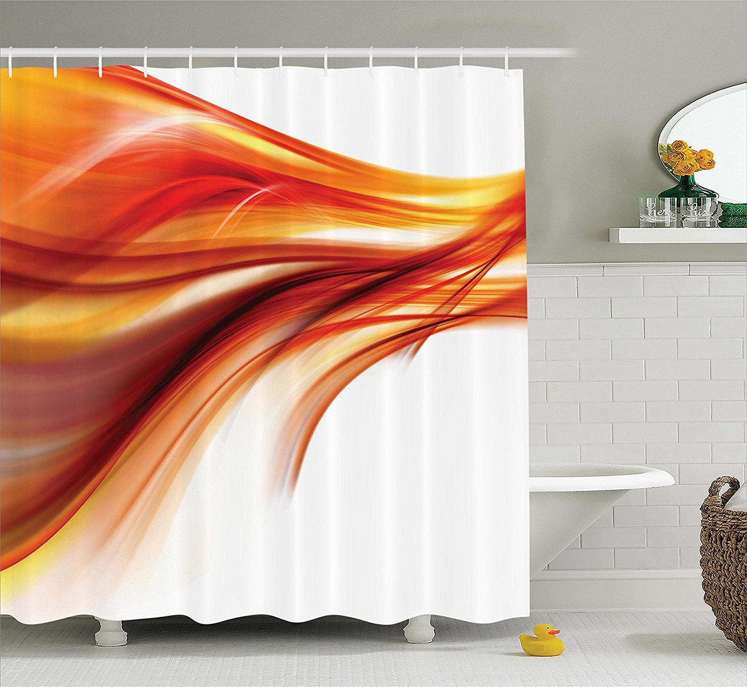 Orange Shower Curtain Set Abstract Home Decor Modern Contemporary Abstract Smooth Lines Art Print Bathroom Prints Bathroom Orange Shower Curtainshower Curtain Set Aliexpress