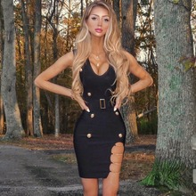 Nieuwe Vrouwen Zomer Stijl Sexy V Hals Ketting Rood Blauw Zwart Bandage Jurk 2020 Gebreide Elastische Bodycon Elegant Avond Party jurk