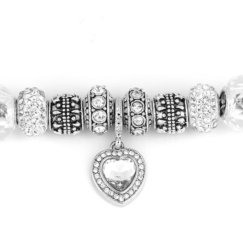 HOMOD 2019 New Antique SilverCharm Bracelets for Women Murano Glass Beads Fits Brand Bracelet For Women Crystal Jewelry in Charm Bracelets from Jewelry Accessories