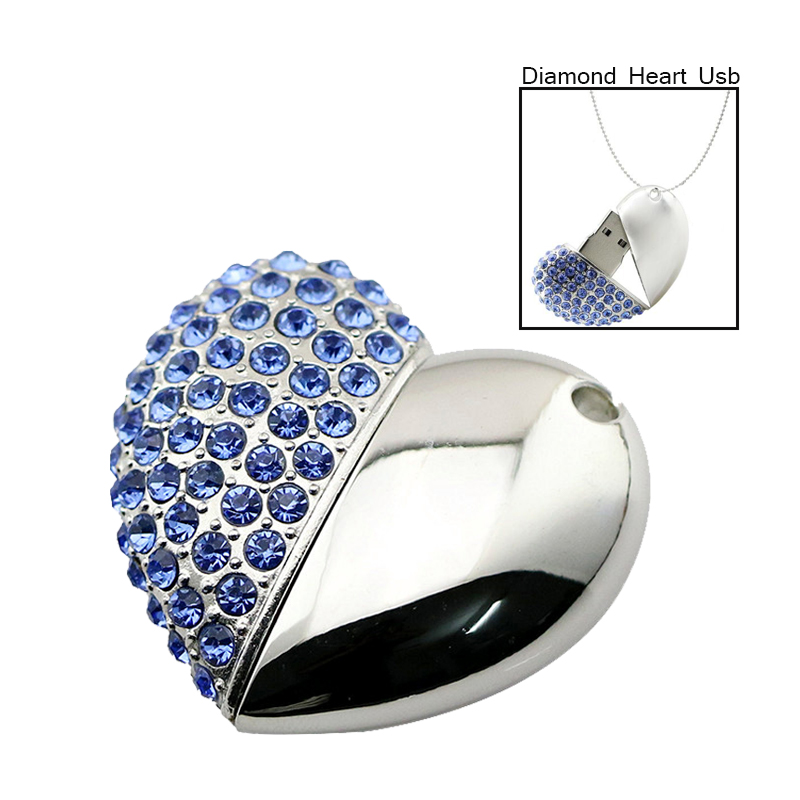 Crystal Red Blue Gold 6 Colour Love Heart Usb 2.0 Pendrive 4GB 8GB 16GB Memory Stick 32GB Necklace Usb Flash Drives Girls Gift